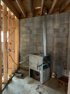 A temporary furnace to keep things above freezing inside