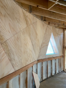 Plywood install in master bedroom