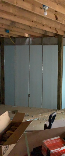 Insulation panels install in basement
