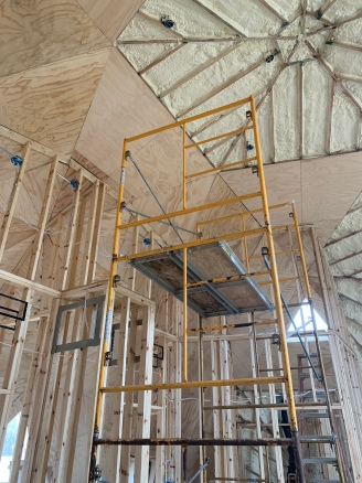 Plywood installation second floor bed and bath