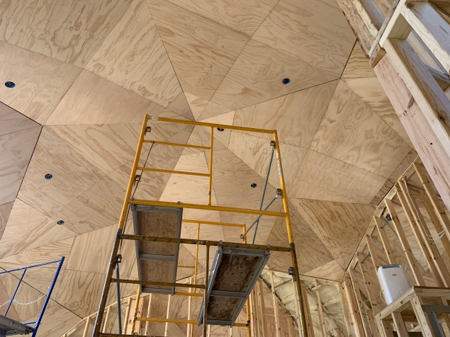 Plywood installation completed top of dome