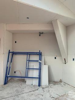 drywall install kitchen stove wall