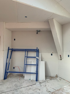 drywall install kitchen stove wall
