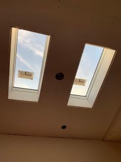 Drywall install kitchen skylights