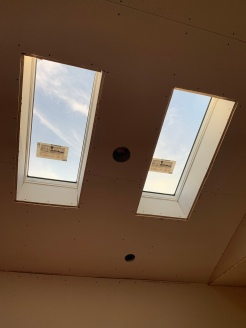 Drywall install kitchen skylights