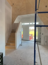 Front entryway with drywall complete