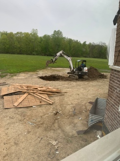 Digging the septic tank hole