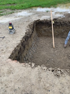Digging and Leveling the hole for the septic tank