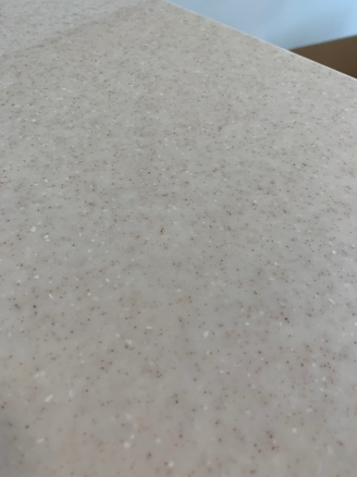 Closeup of master bath countertop
