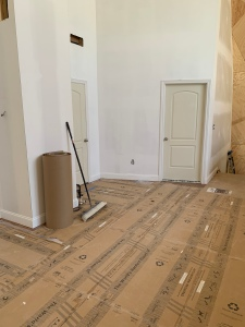 The trim and doors installed on the second floor