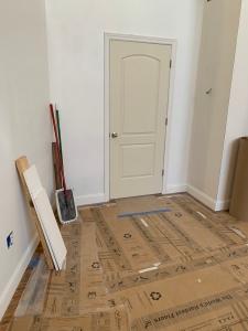 Bedroom door and trim on balcony