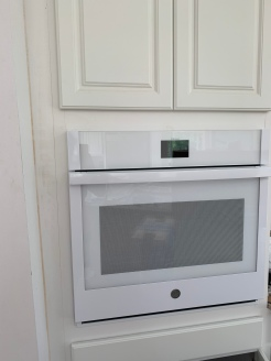 I just love having the oven installed in the cabinet! So exciting!